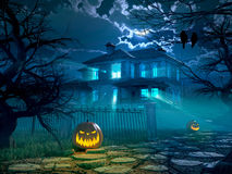Halloween night background with scary house. 3d. Halloween night background with scary house and crows and pumpkin, halloween party concept. 3d rendering Stock Images