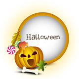 Halloween night background with scary pumpkin Stock Images