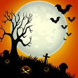 Halloween night background with scary pumpkins Royalty Free Stock Photo