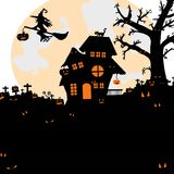 Halloween night background with silhouette of naked trees, tomb. royalty free illustration