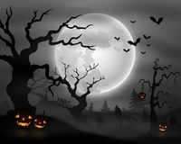 Halloween night background with wolf howling, pumpkins and full moon Stock Photo