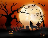 Halloween night background with wolf howling, pumpkins, owl on tree and full moon Stock Photo