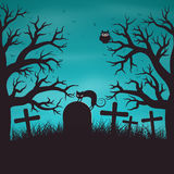 Halloween night background in wood on an old graveyard Stock Images