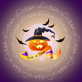 Halloween night background with words Trick or Treat, October. Royalty Free Stock Photography