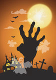 Halloween night background,zombie hands and full moon.Vector ill Stock Images