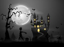 Halloween night background with zombie walking on graveyard Stock Photos