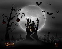 Halloween night background with zombie walking, pumpkins, castle and full moon Royalty Free Stock Images