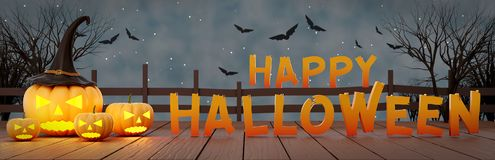 Halloween night banner 3d rendering stock illustration