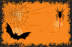 Halloween night with bat and spider. Halloween party with creepy spider and scary bat. Vector illustration saved as EPS AI 8, no gradients, no effects, is now Royalty Free Stock Photo