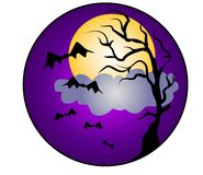 Halloween Night Bats Clip Art. A clip art illustration of a halloween scene featuring the silhouette of an old dead tree, bats flying everywhere, clouds and moon Royalty Free Stock Images