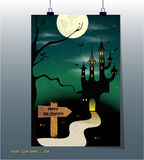 Halloween night, black castle on the moon background Stock Image