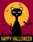 Halloween Night with Black Cat. Happy Halloween night card with the moon, bats flying, a spooky graveyard and a black cat. Eps file available Royalty Free Stock Photo