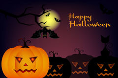 Halloween night blurred background with pumpkin and calligraphy inscription Happy Halloween. Vector illustration Stock Images