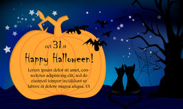 Halloween night card big pumpkin cats Stock Photo