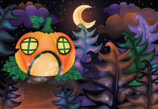 Halloween night card with pumpkin castle and moon Stock Photos
