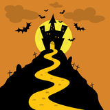 Halloween night castle. Halloween night dark castle from orange background Stock Photo