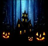 Halloween. Night. Castle and pumpkins. Stock Photo