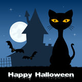 Halloween Night with Cat & Haunted House Royalty Free Stock Images
