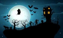 Halloween night celebration on the hill Vector Illustration