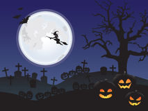 Halloween night at a cemetery. Night at a cemetery full of tombs and jack o lanterns Stock Image