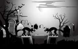 On Halloween night at the cemetery Royalty Free Stock Image