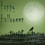 Halloween night cemetery moon ravens Royalty Free Stock Photography