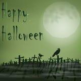 Halloween night cemetery moon ravens.  Royalty Free Stock Photography
