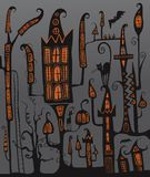 Halloween night city. illustration. castle stock illustration