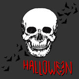 Halloween night concept poster. Skull Vector print. Stock Images