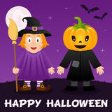 Halloween Night - Cute Witch & Scarecrow. Happy Halloween night card with a cute witch, a scarecrow with a pumpkin head, full moon and bats flying on a violet royalty free illustration