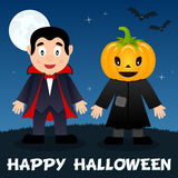 Halloween Night - Dracula & Scarecrow. Happy Halloween night card with the Count Dracula, a cute scarecrow with a pumpkin head, full moon and bats flying on a vector illustration