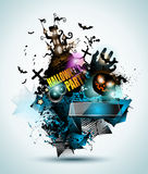 Halloween Night Event Flyer Party template with Space for text Royalty Free Stock Image