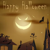 Halloween night evil moon above houses Royalty Free Stock Photos