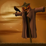 Halloween night evil scarecrow and crow Royalty Free Stock Photos