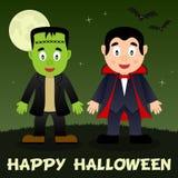 Halloween Night - Frankenstein & Dracula Royalty Free Stock Images