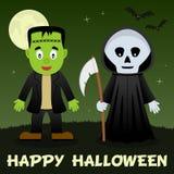 Halloween Night - Frankenstein Grim Reaper Stock Images