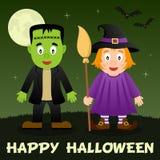 Halloween Night - Frankenstein & Witch Stock Photo
