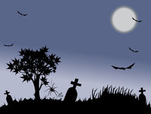Halloween night with full moon. Halloween night background with bat, spiders and tree Royalty Free Stock Photography
