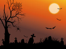 Halloween night with full moon. Halloween night background with bat, spiders and tree Royalty Free Stock Photos