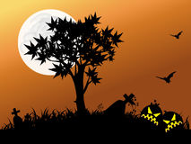 Halloween night with full moon. Halloween night background with pumpkin bat and tree Stock Photo