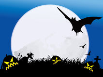 Halloween night with full moon. Halloween night background with pumpkin and bat ,moonlight Royalty Free Stock Images