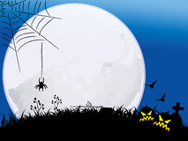 Halloween night with full moon. Halloween night background with pumpkin bat and spider moonlight Royalty Free Stock Photo