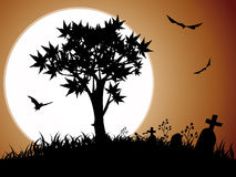 Halloween night with full moon. Halloween night background with tree pumpkin bat and cemetery,moonlight Stock Images