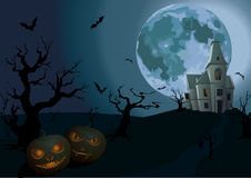 Halloween night: full moon beautiful castle chateau, carved scar Royalty Free Stock Images