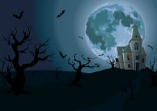 Halloween night: full moon beautiful castle or chateau light ins Royalty Free Stock Photo