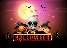 Halloween night full moon party fancy sign stock illustration