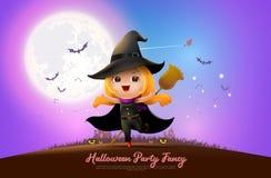 Halloween night full moon party fancy royalty free illustration