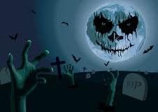 Halloween night: full moon with scary emotion cemetery with grav Stock Photography