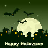 Halloween Night - Ghost Town and Full Moon. Happy Halloween night card with a ghost town, bats flying and full moon on a green sky background. Eps file available vector illustration