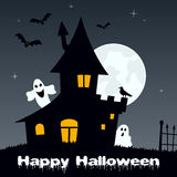 Halloween Night - Ghosts & Haunted House Royalty Free Stock Photography